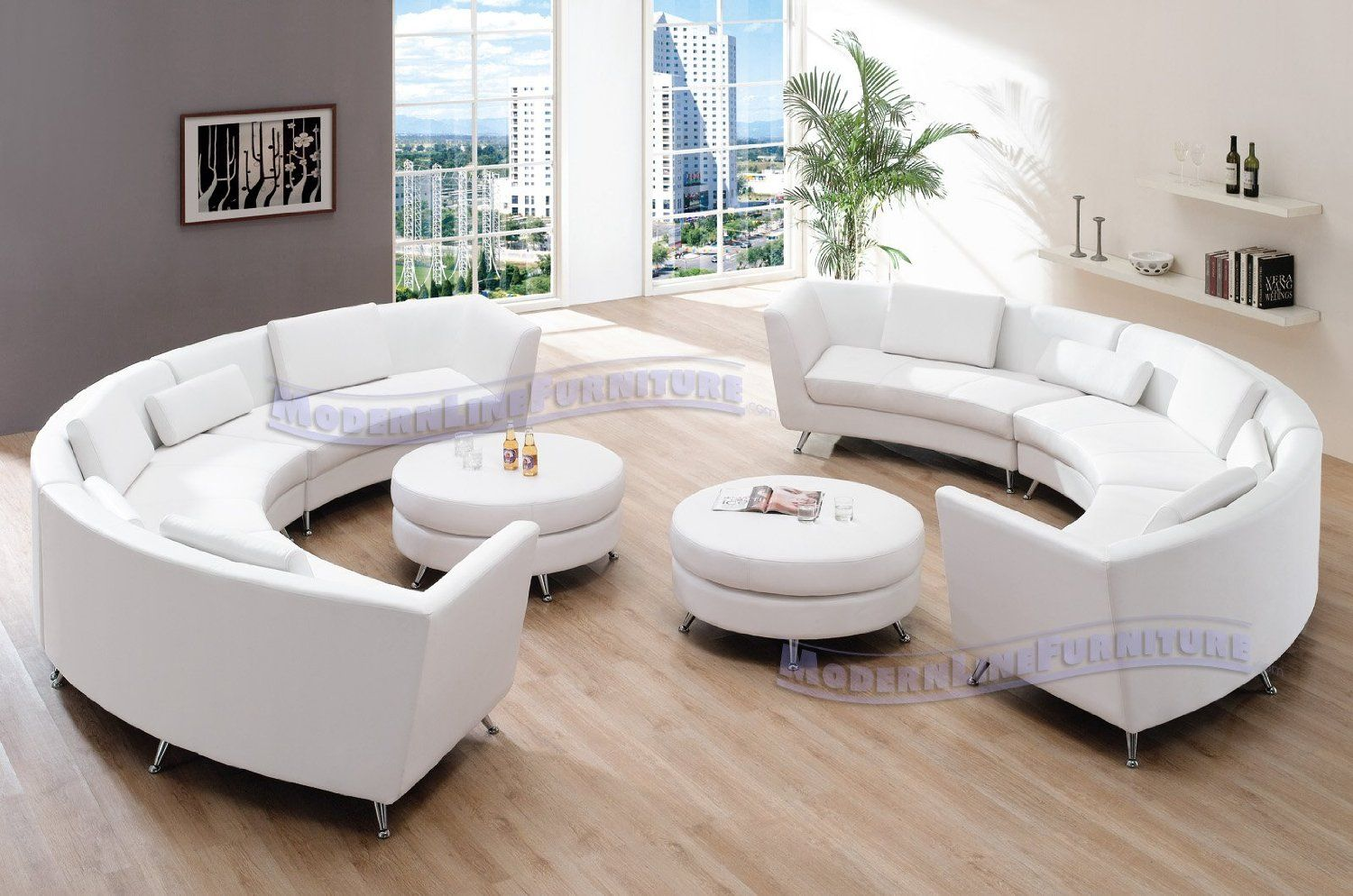 amazon com living room furniture well decorated pictures exclusive modern vip sectional with two white leather sofas and 2 ottomans decor