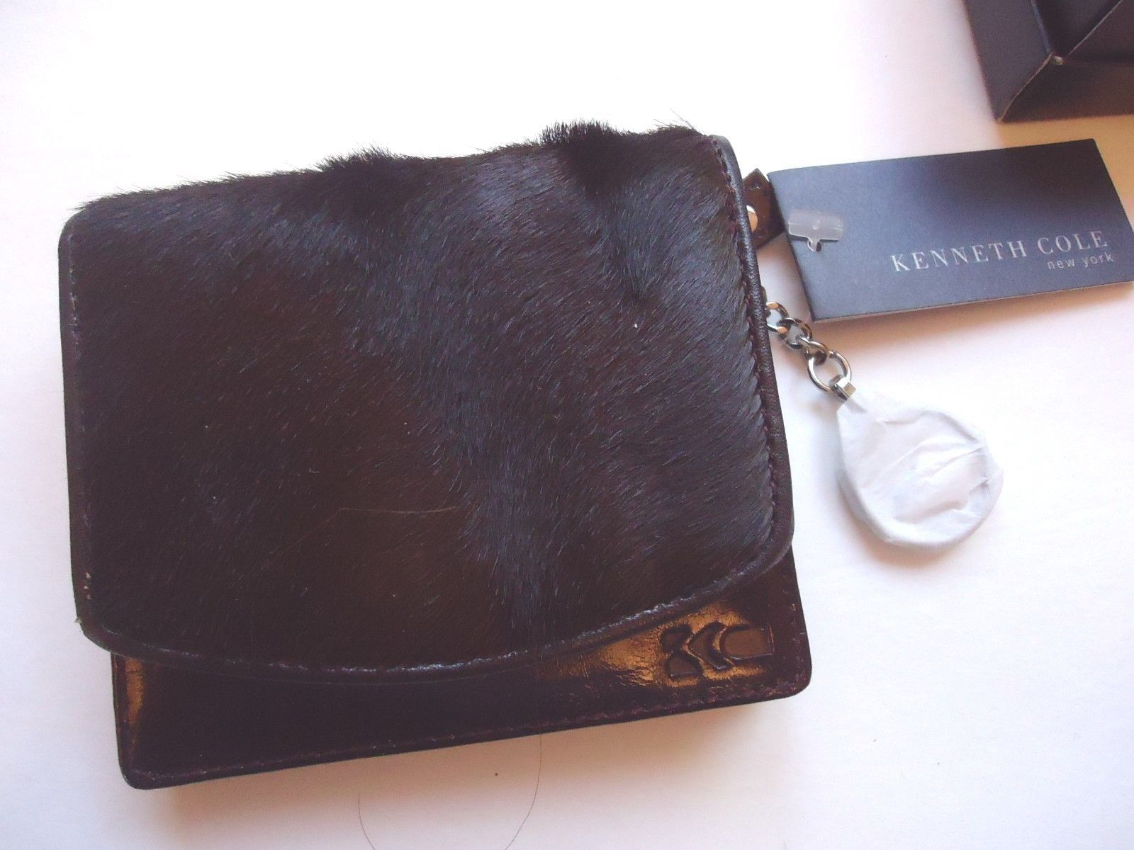 """Kenneth Cole """"New York"""" Fur Polished Genuine Leather Wallet Brown"""