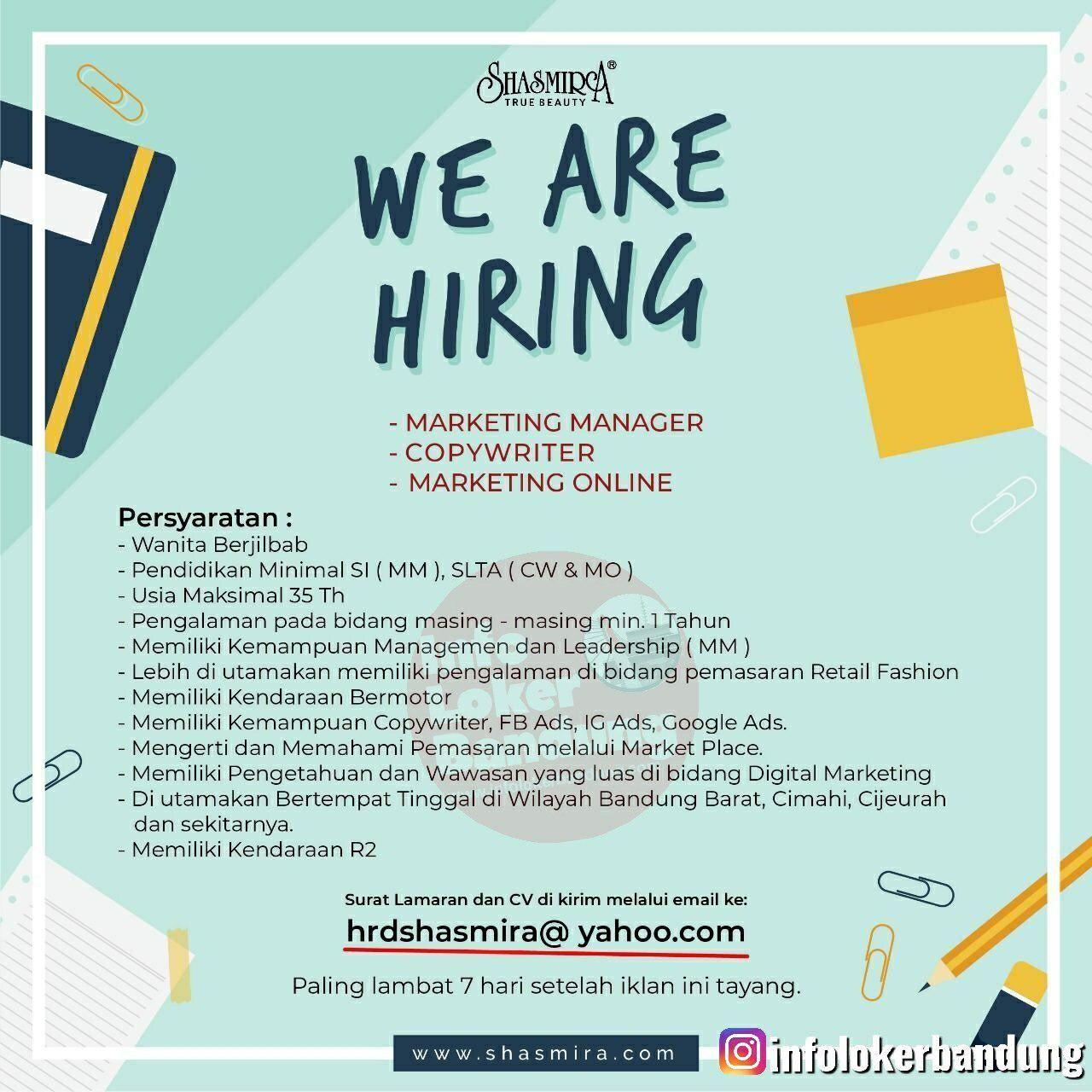 Lowongan Kerja Shasmira True Beauty Bandung Juli 2019 Marketing