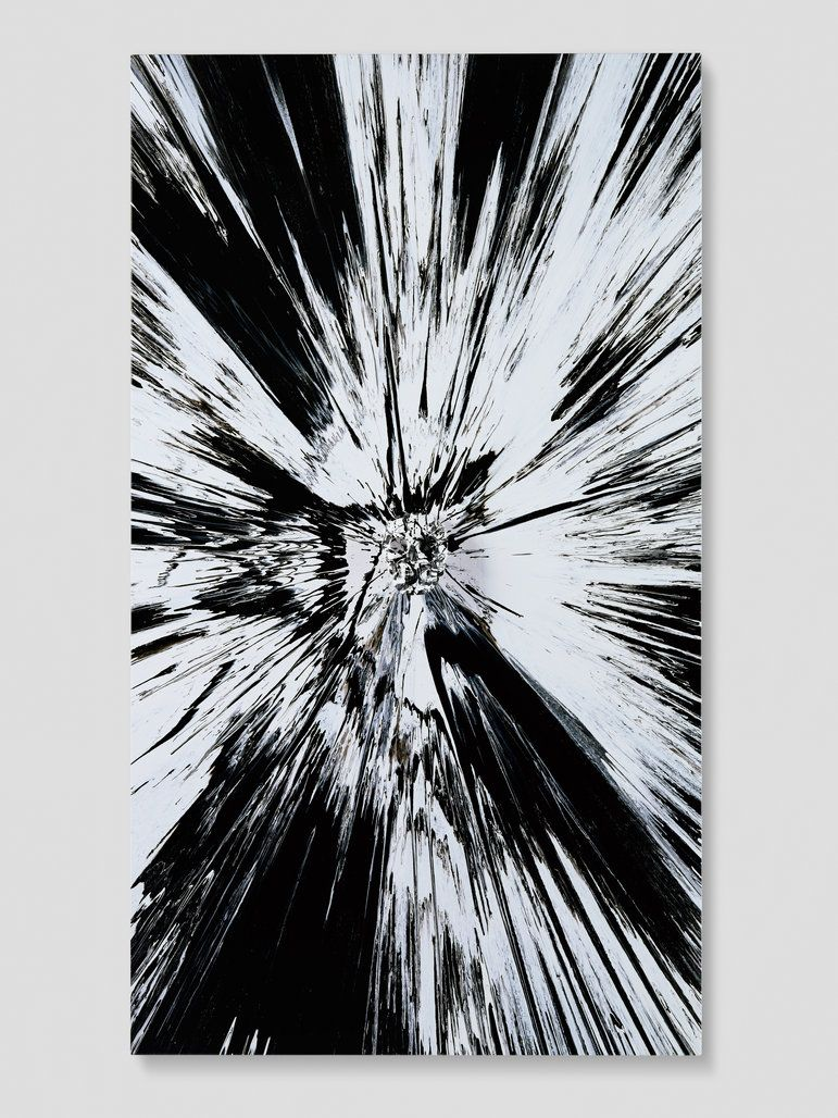 Beautiful black and white shattered inside my head forever painting 2008