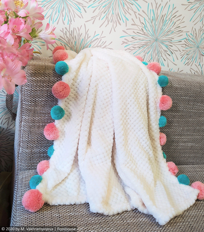 Baby blanket Small minky couch blanket Pompom sofa blanket