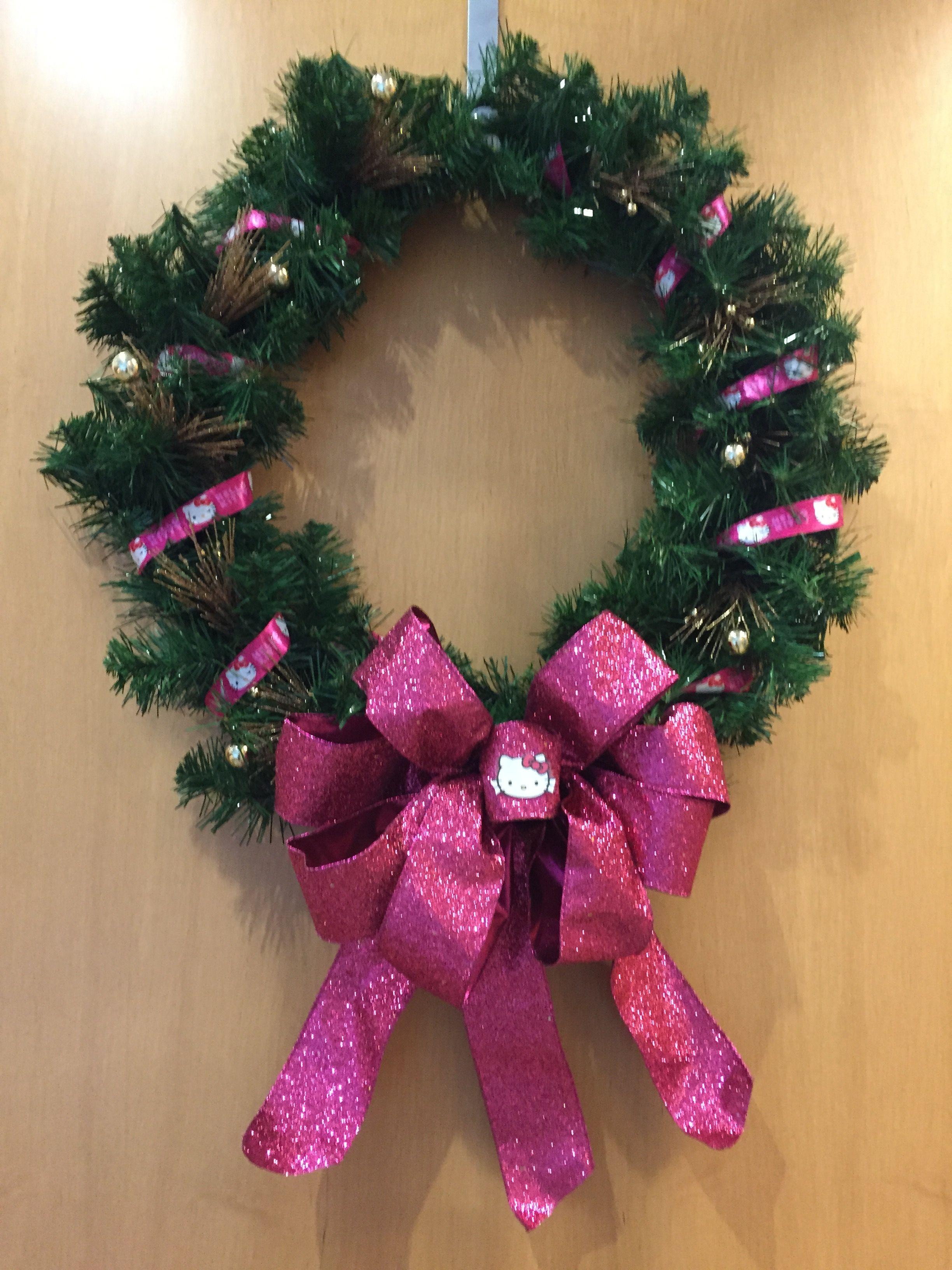 Sara LaFone made this awesome Hello Kitty wreath for me!!