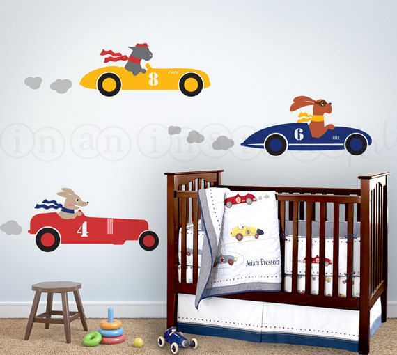 Racecar Wall Decal Race Car Decal With Dogs Dogs By InAnInstantArt - Wall decals cars