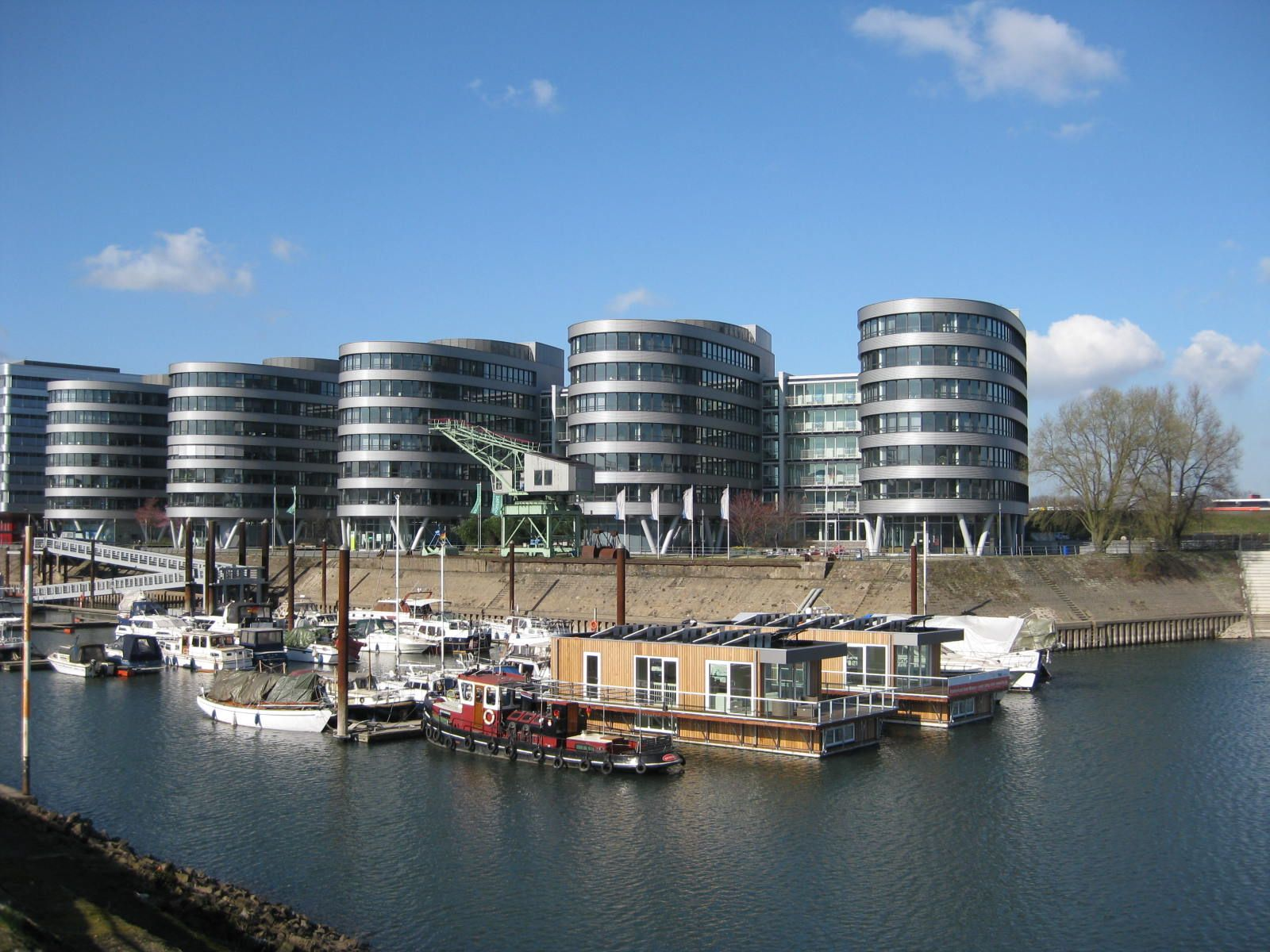 House boats and new apartments, Duisburg Harbour, Germany