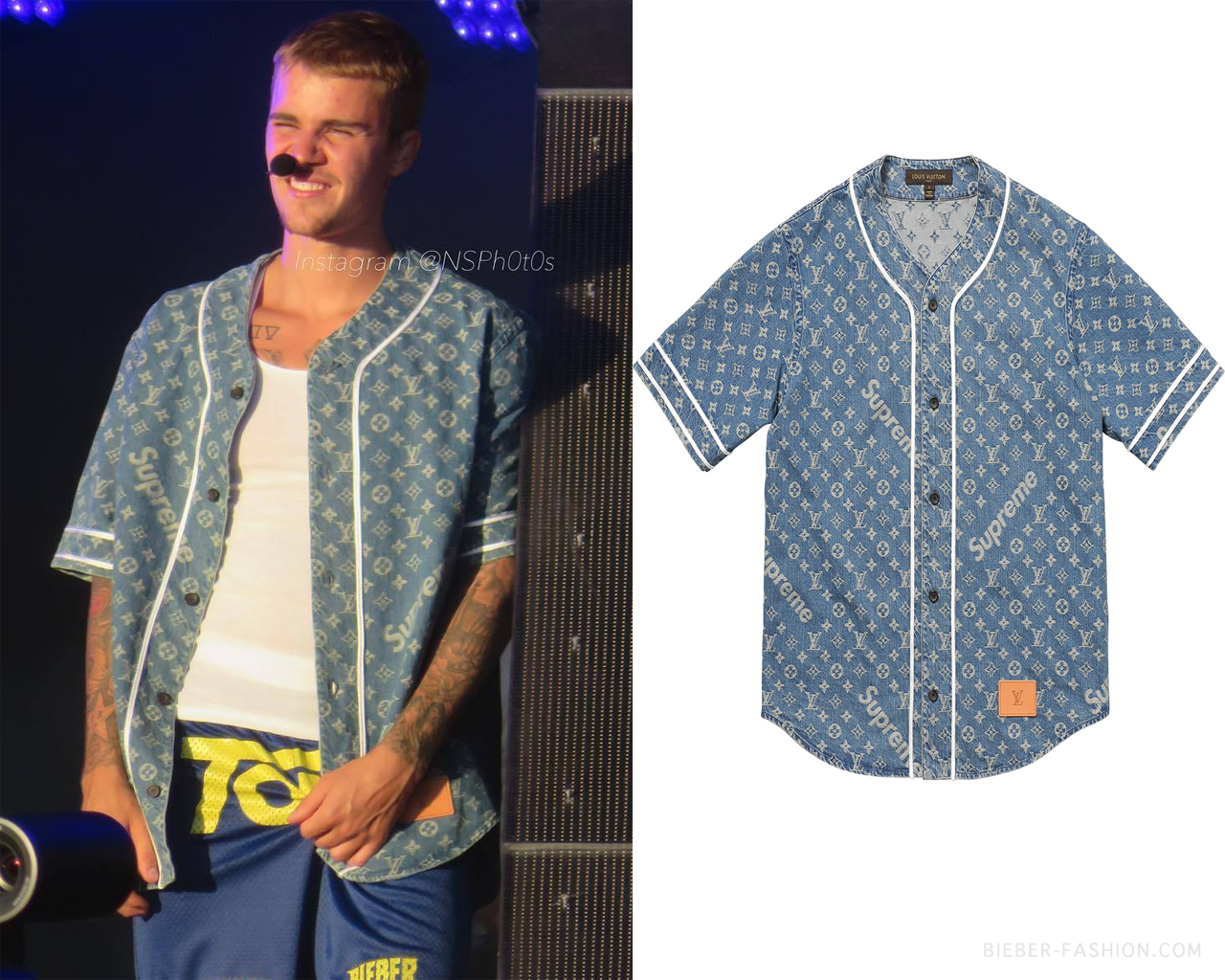"""28f02f086672fc bieber-fashion: """" Louis Vuitton/Supreme Jacquard Denim Baseball Jersey in  Blue - $790.00 Available at Louis Vuitton Pop-Up Stores """""""