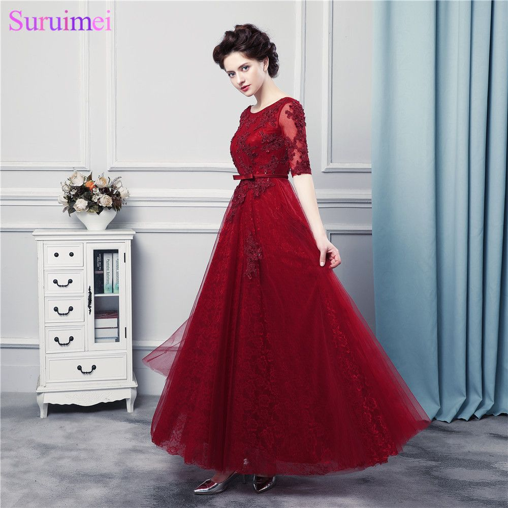 Click to buy ucuc lace prom dresses with pearls dark red with lace