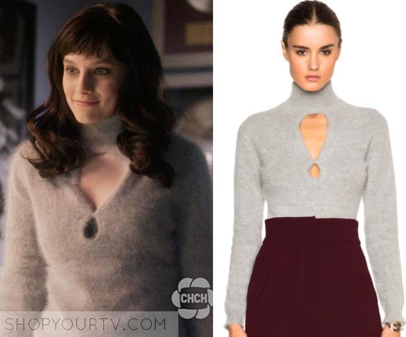 Nashville: Season 4 Episode 13 Layla's Grey Cut Out Fluffy Sweater