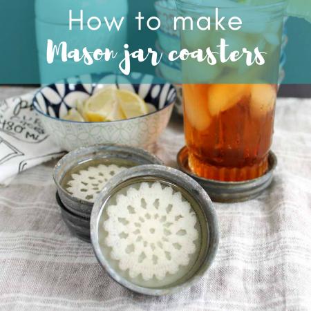 Mason jar coasters DIY. Seal mason jar lids. Add a layer of resin. Glue a doily to the layer of cured resin. Add another layer of resin. Voila, coasters!