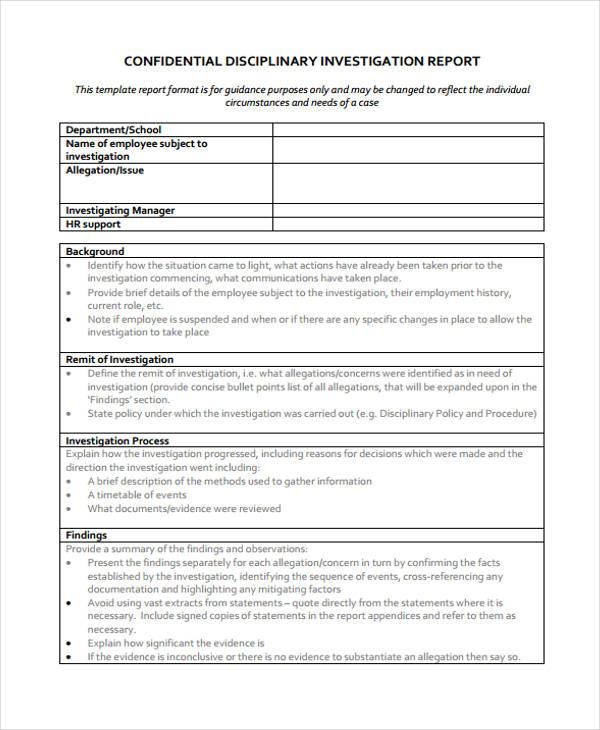 Investigation Report Template Disciplinary Hearing 9 Templates Example Templates Example Report Template Investigations Letter Template Word