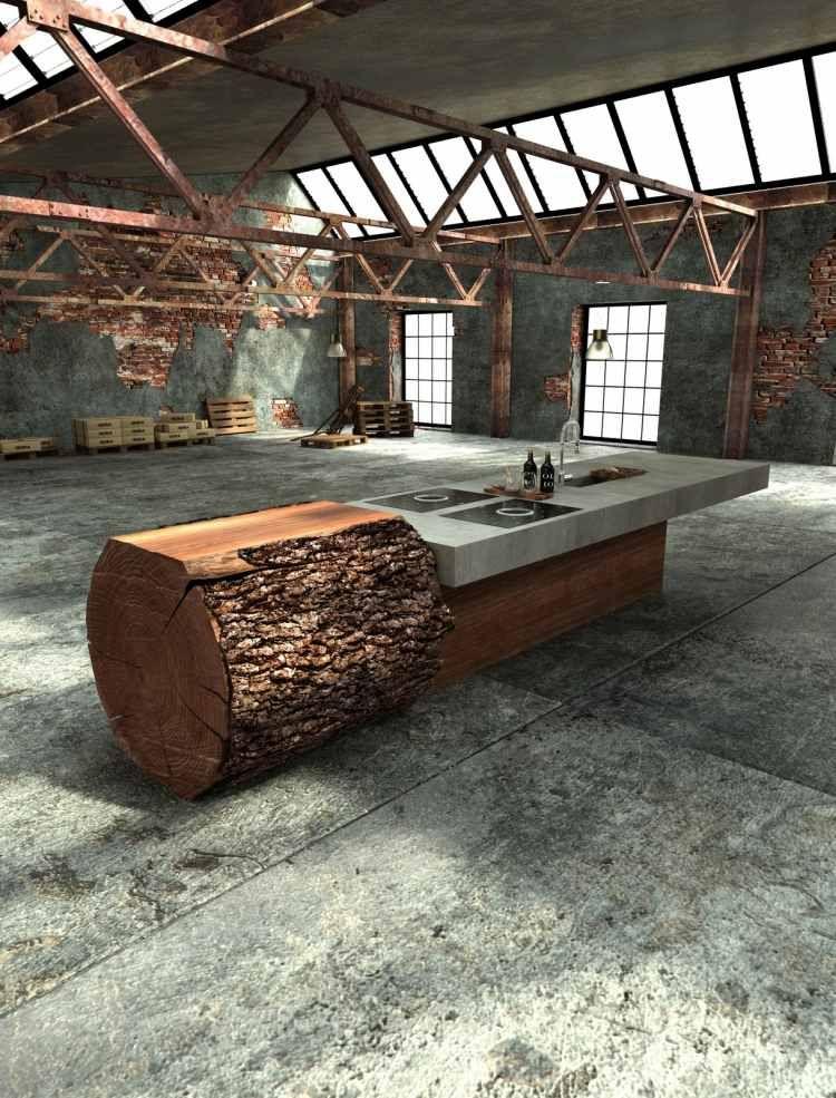 baumstammk che mit beton arbeitsplatte von werkhaus geil pinterest beton arbeitsplatten. Black Bedroom Furniture Sets. Home Design Ideas
