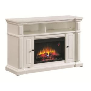Hampton bay chatham 56 in media console electric fireplace in white media console electric fireplace in white 82698 at the teraionfo
