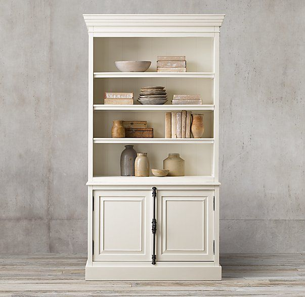 French Panel Double Door Sideboard Open Hutch FurnitureOffice DecorFamily