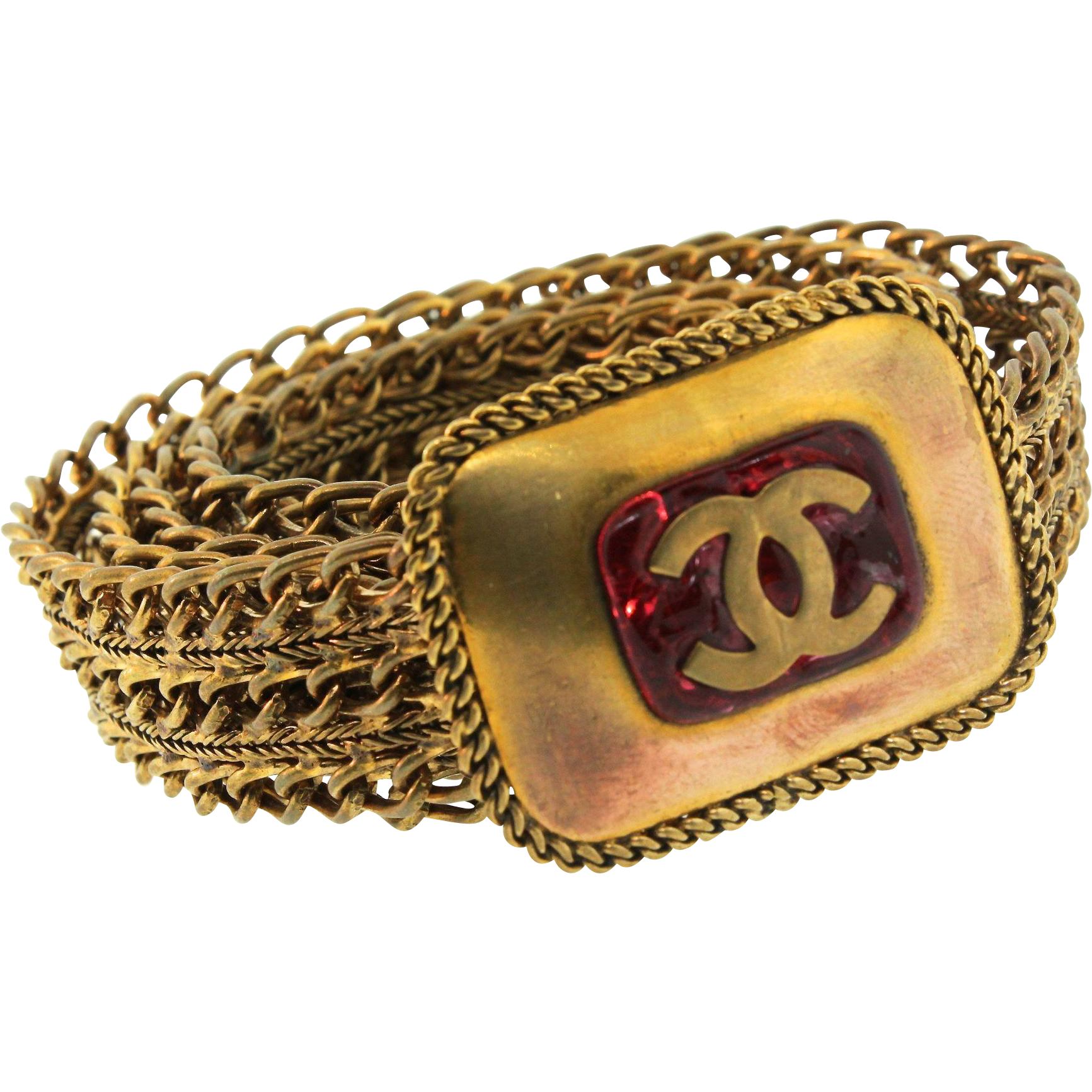 "Vintage CHANEL GRIPOIX Logo CC Ruby Glass Wide Semi-Rigid Chain Link 29.5""  BELT · Haute CoutureBijoux ... 09be08ae239"