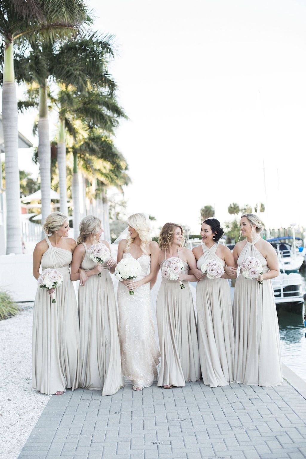 Timeless Champagne And Ivory Waterfront Wedding Sarasota Yacht Club Neutral Bridesmaid Dresses Champagne Bridesmaid Dresses Ivory Bridesmaid Dresses
