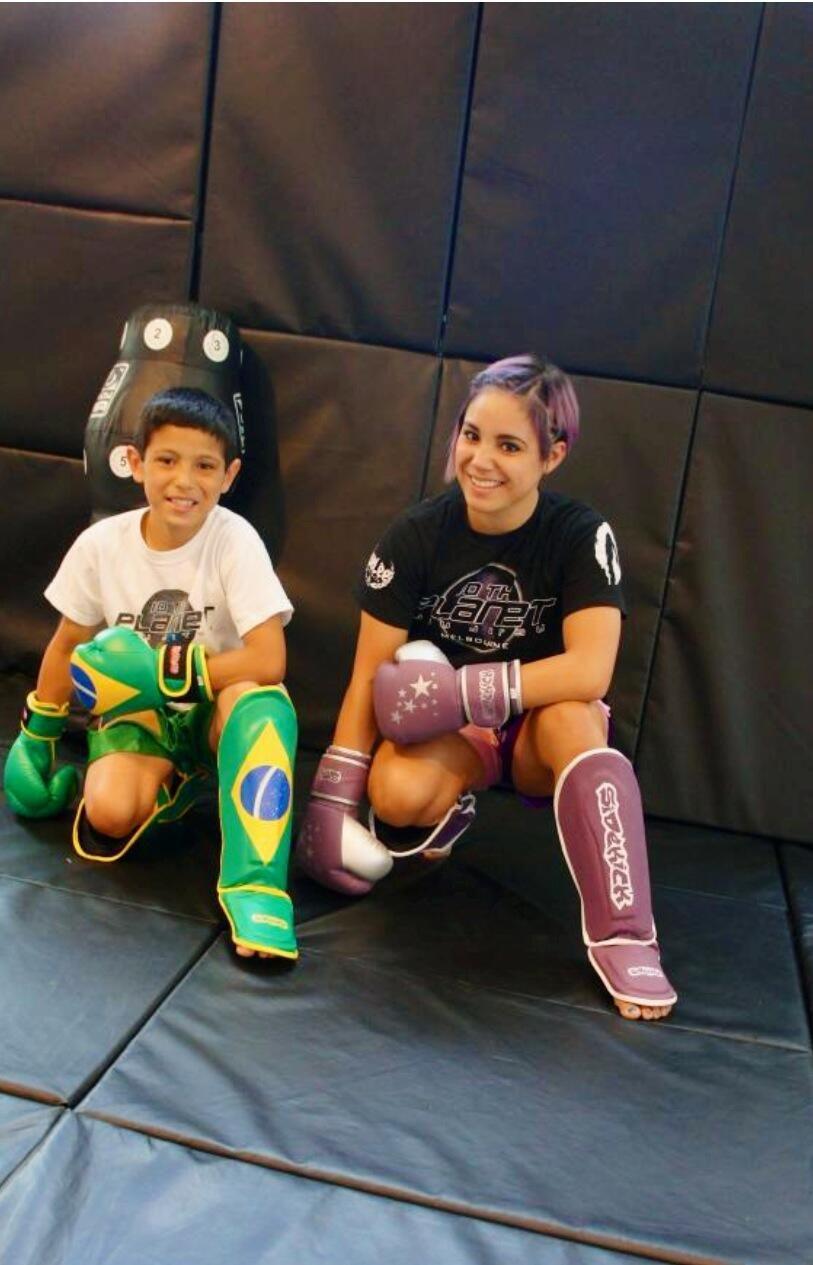 Kyra Batara and her brother in their new Sidekick Boxing gear.  www.sidekickboxing.co.uk