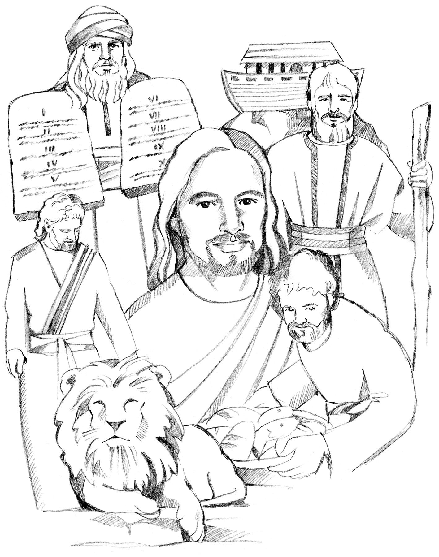 Link to coloring pages of Old Testament Characters. | Children\'s ...