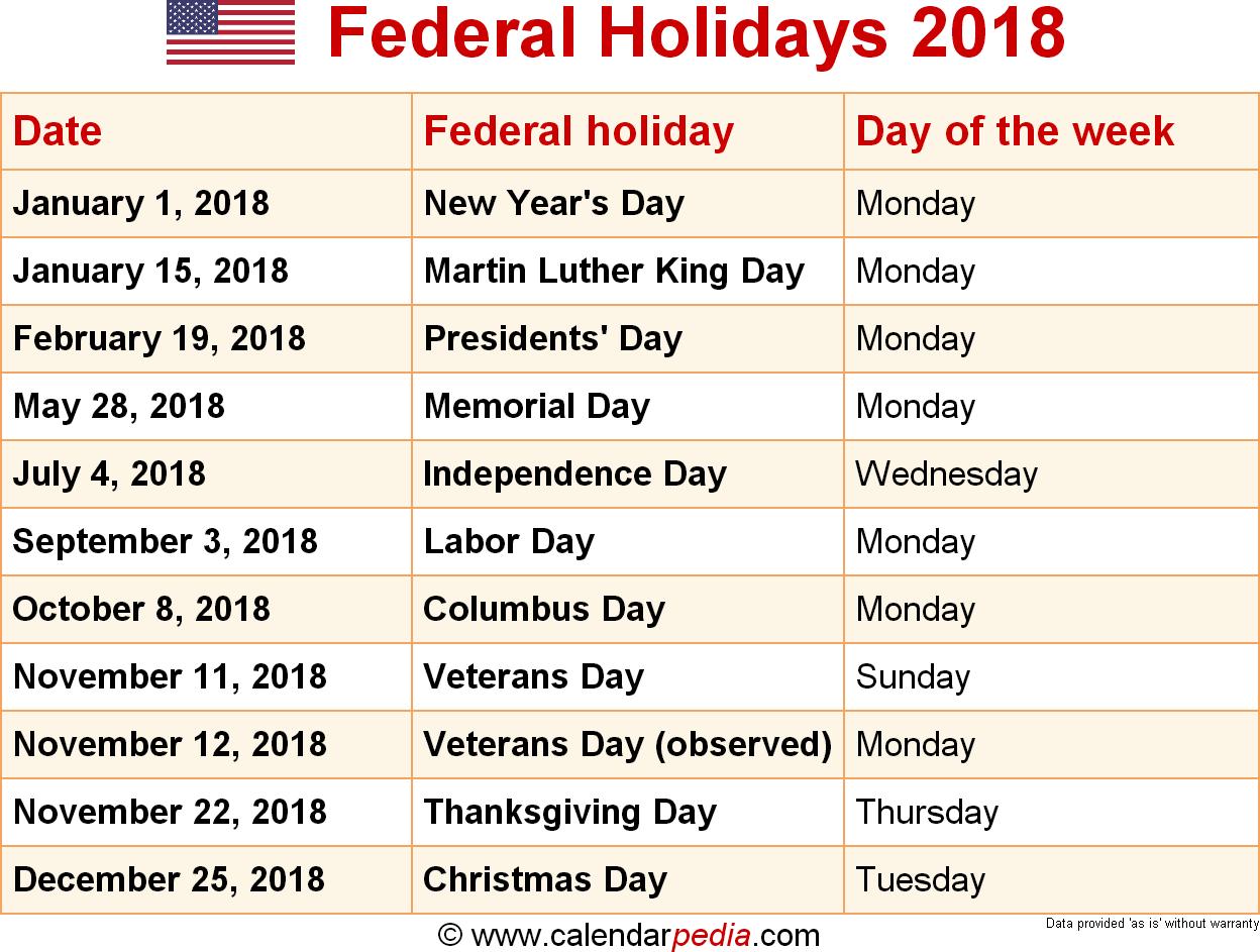 Federal Holidays 2018 Federal Holiday Calendar Us Holiday Calendar Holiday Calendar