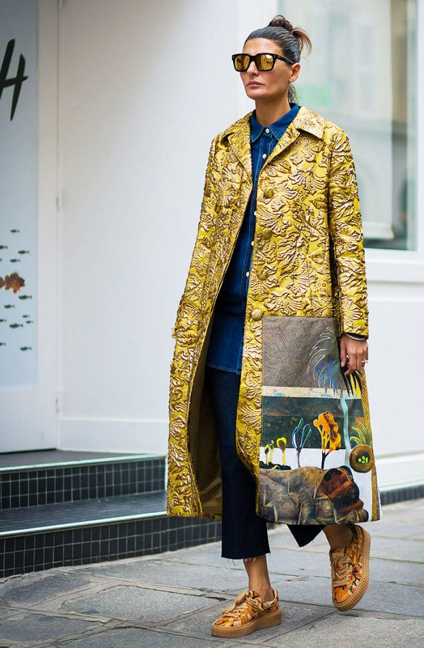 Printed coat + frayed cropped flares + denim shirt