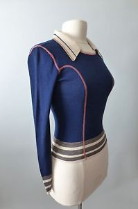 vintage 1960s 70s Blue Lightweight Knit Nylon Sweater Top S M Pink Stitching