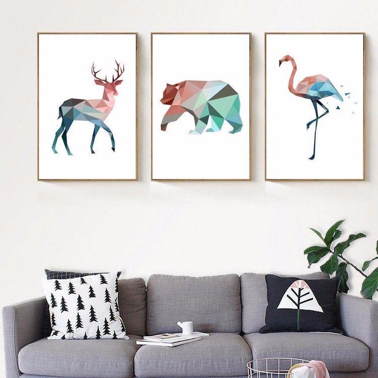 Aliexpress.com: Comprar Pintura de la lona Geométrica Animales Elk ...