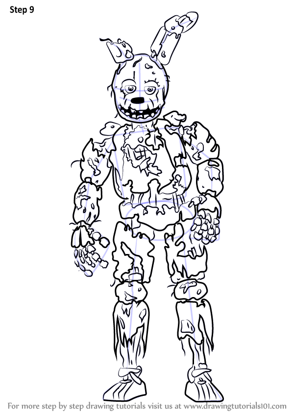 Learn How To Draw Springtrap From Five Nights At Freddy S Five Nights At Freddy S Step By St Fnaf Coloring Pages Free Coloring Pictures Spring Coloring Pages