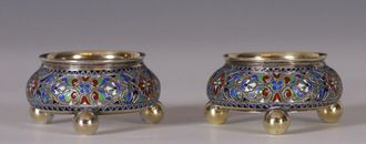 Gustav Gaudernack for David Andersen. Russian style gilt silver and champléve enamel salts ca 1895