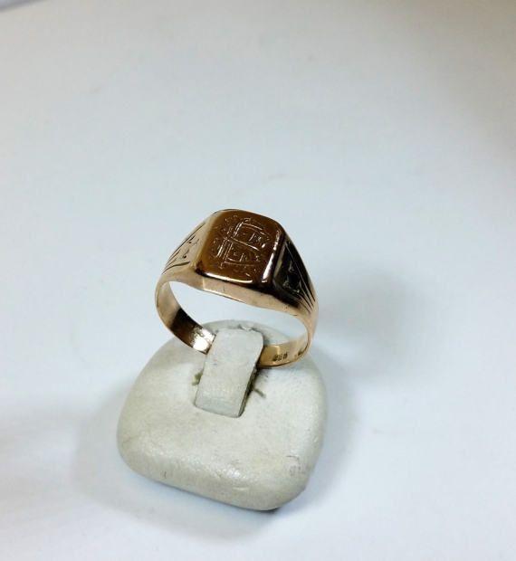 Alter Ring Siegelring Rotgold 333 Rs Oder Sr Von