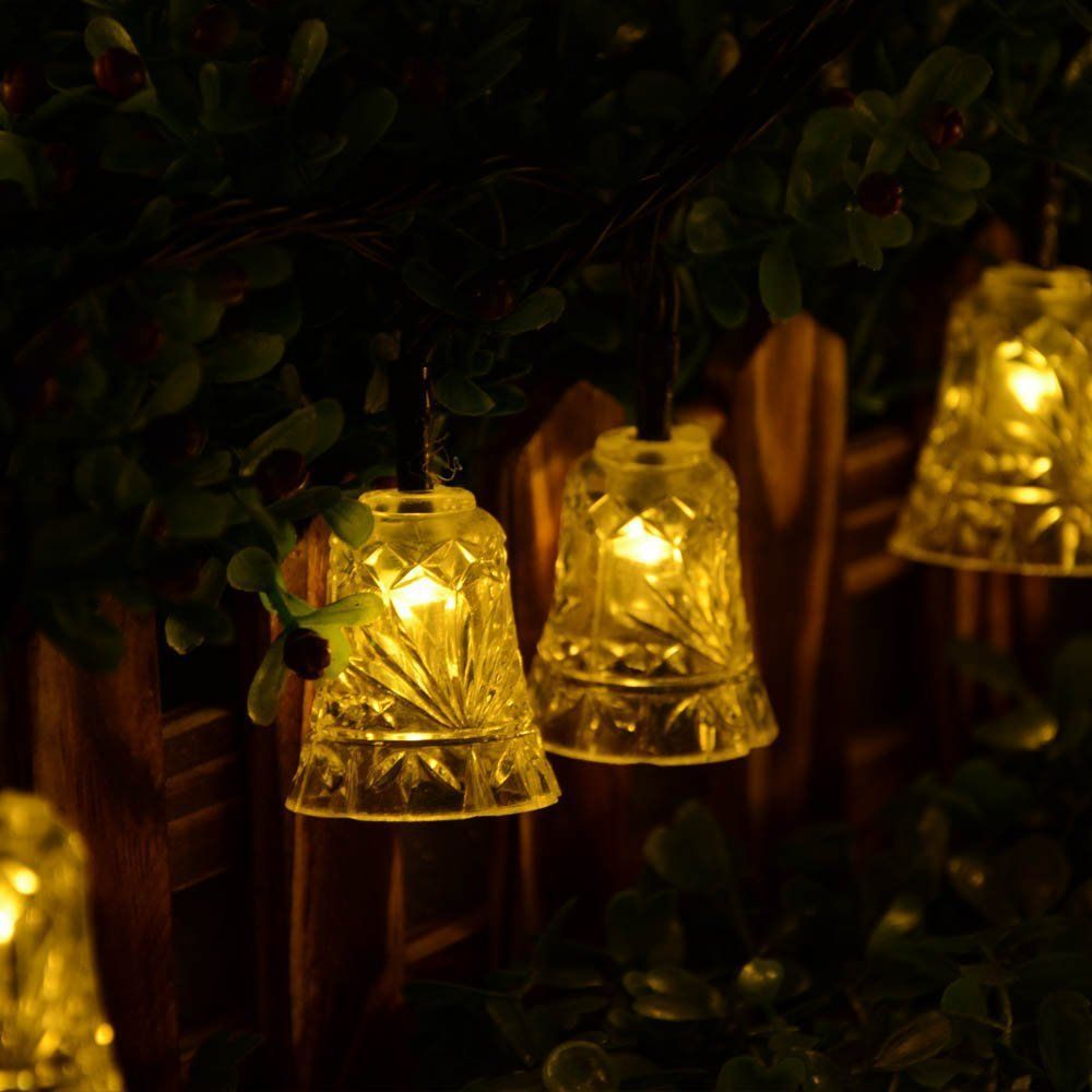 Garden String Lights Adorable 20 Led Bell Outdoor Solar String Lights Waterproof Solar Lamp For