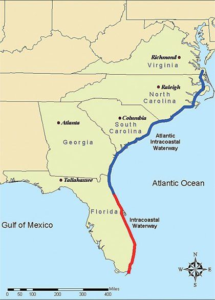 Intracoastal Waterway ICW is a 3 000 mile 4 800 km inla