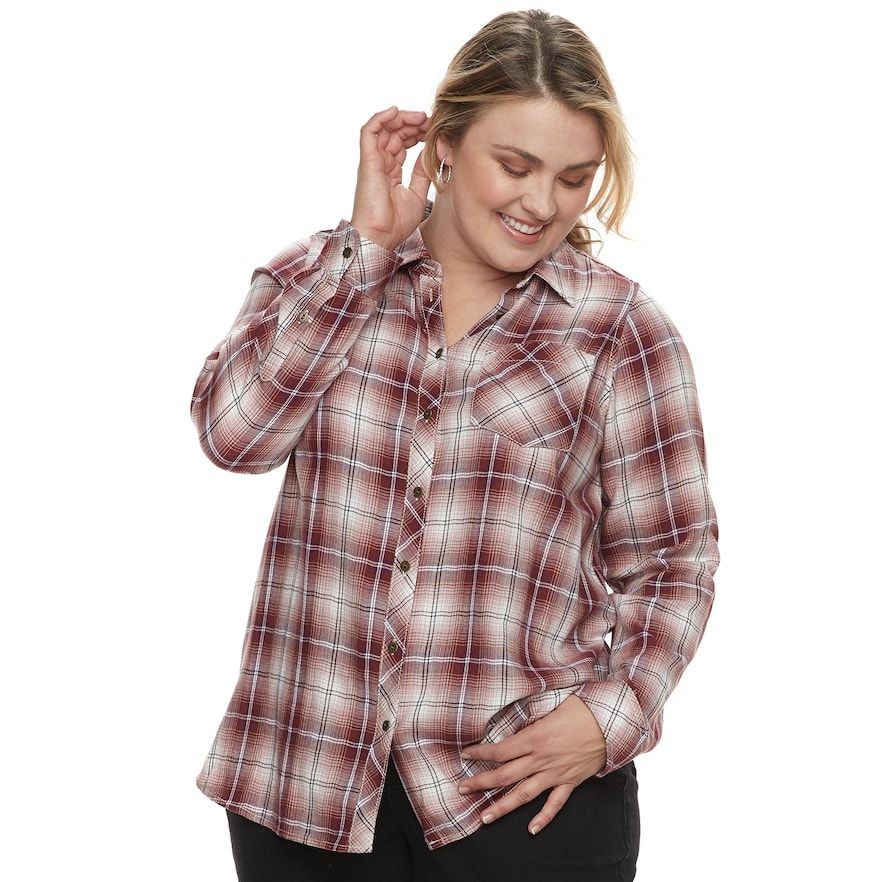 6a7e0fbf459 Sonoma Goods For Life Plus Size SONOMA Goods for Life High-Low Plaid ...