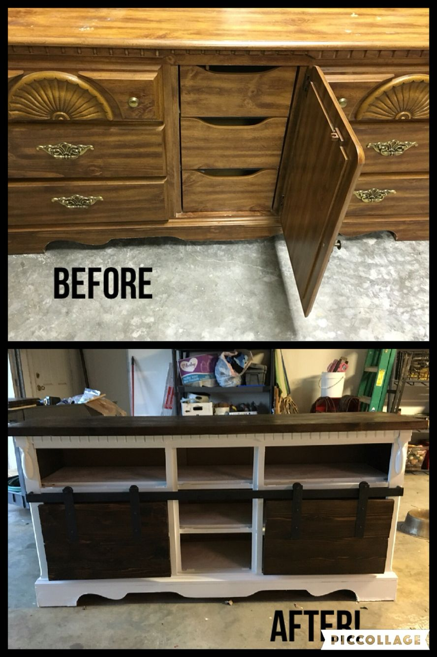 turned an old dresser into a tv stand with sliding barn doors! | re
