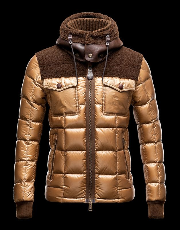 6302903baafe Moncler Jacket For Men Brown With High Collar MC1126