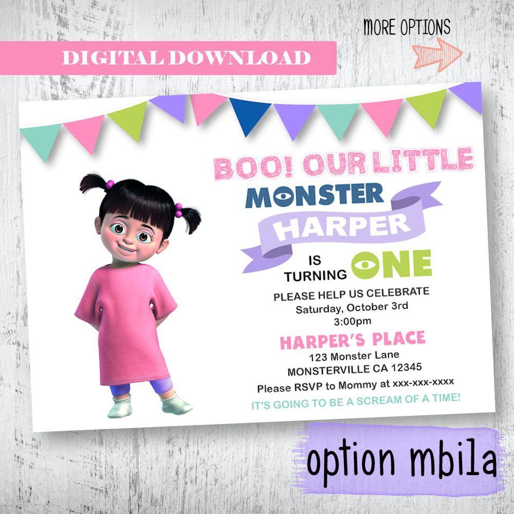 Monsters Inc Invitation. Monsters Inc Boo Birthday Invitation. Girls ...