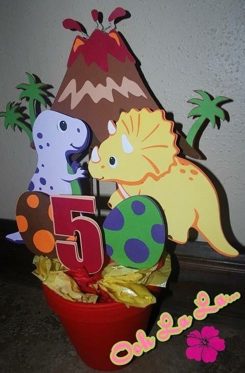Resultado de imagen para centros de mesa de dinosaurios - Mesas para cumpleanos infantiles ...