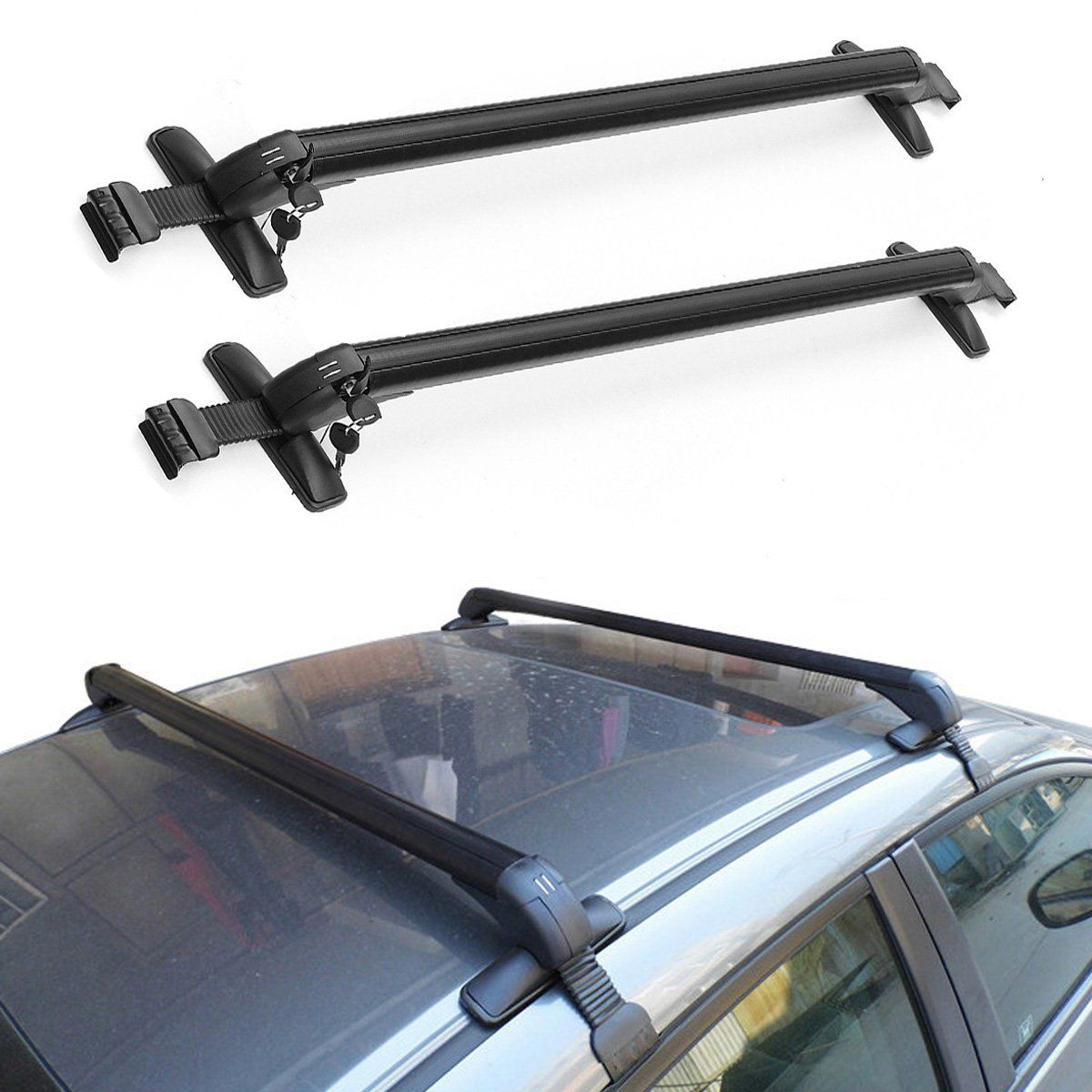 Aluminum Car Top Luggage Roof Rack Cross Bar Carrier Adjustable