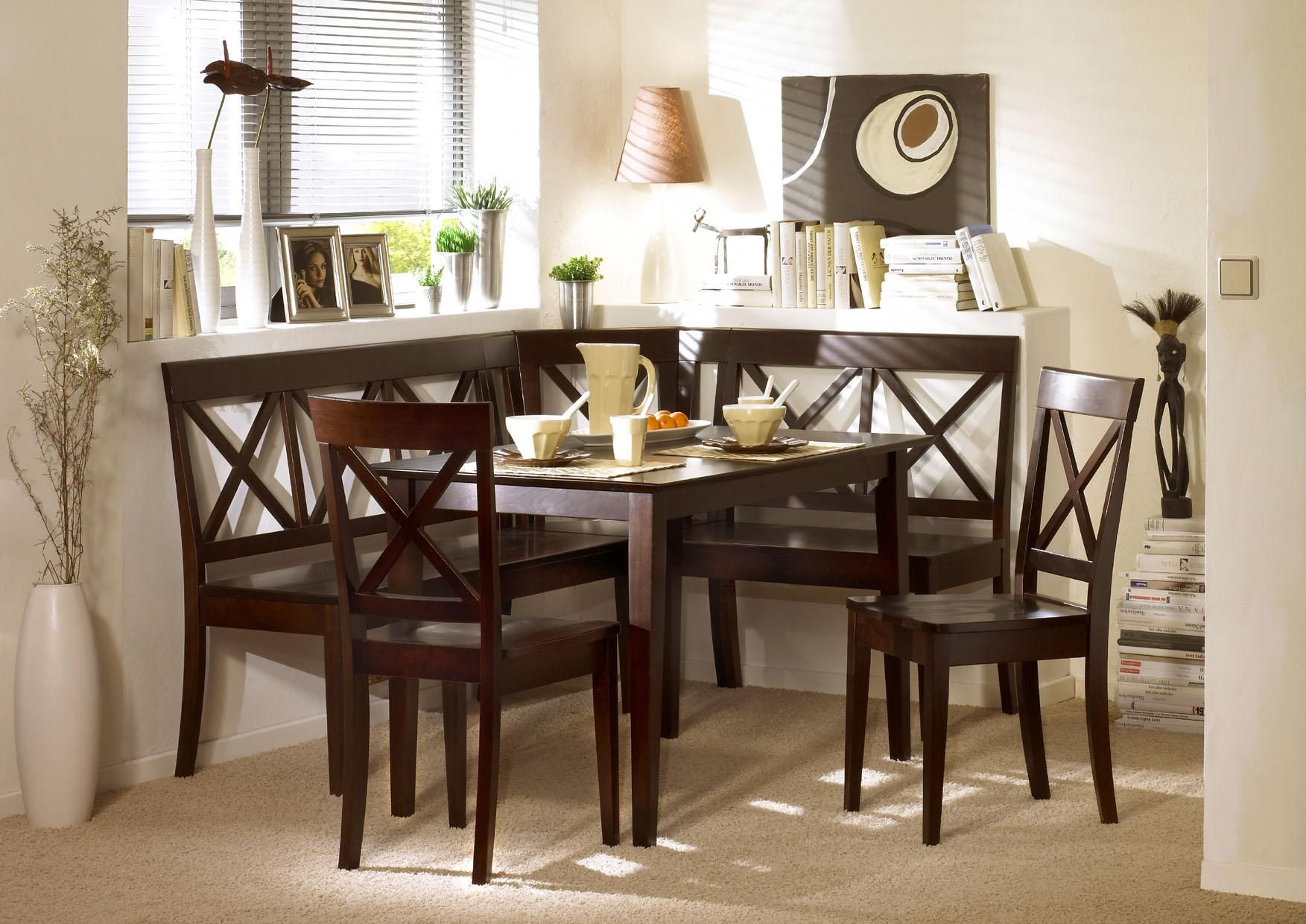 Furniture Interesting L Shaped Dark Wood Kitchen Nook Nice Dining Table Chairs Beige Area Rug White Window Blind Simple