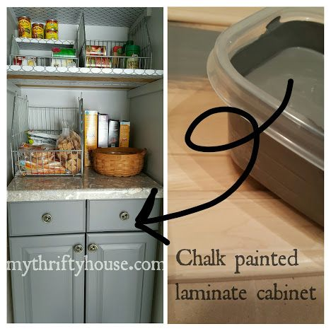 homemade chalk paint on cabinet