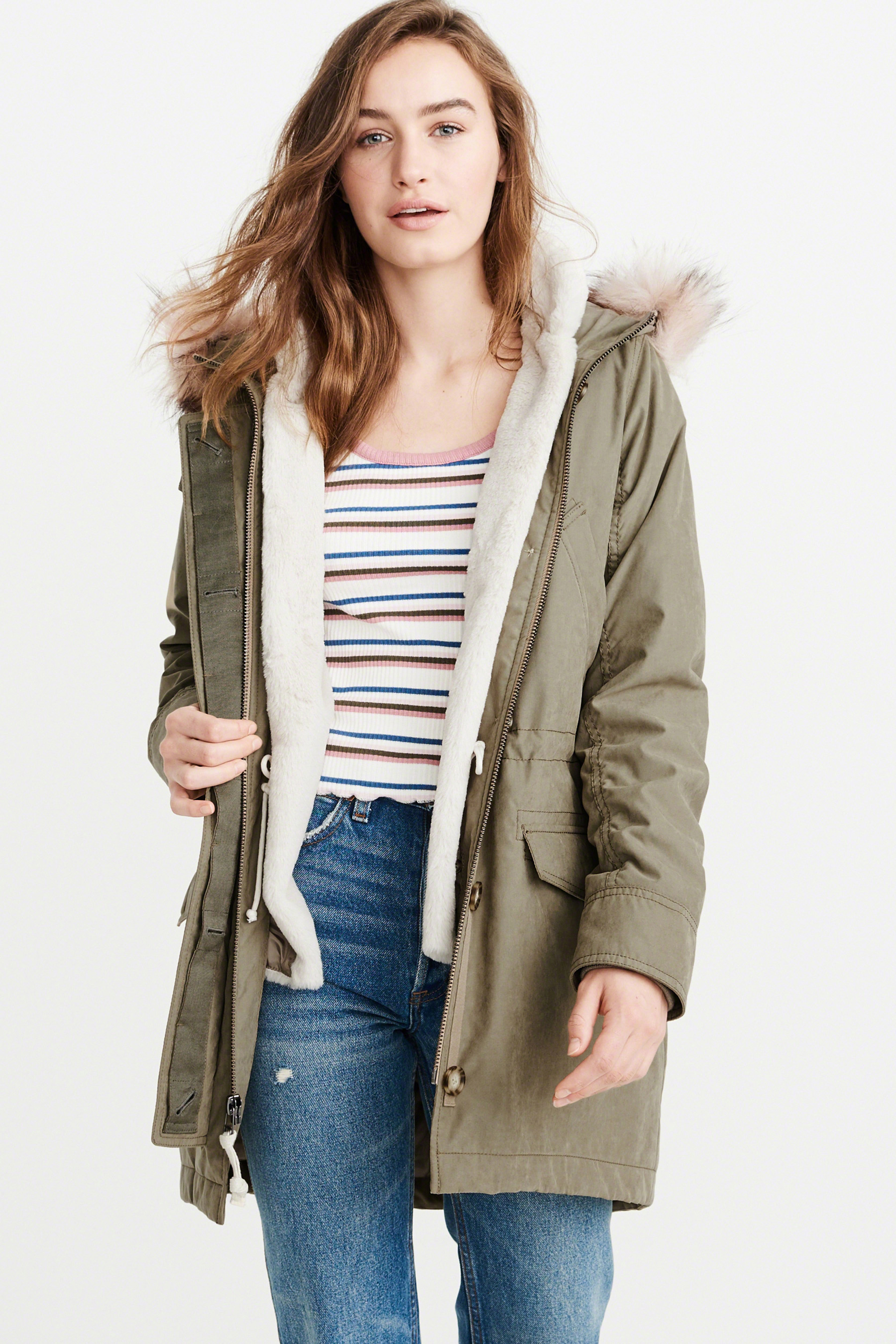 6783f9be1d1 Buy Abercrombie & Fitch Olive With Pink Faux Fur Hood Parka from the Next  UK online shop