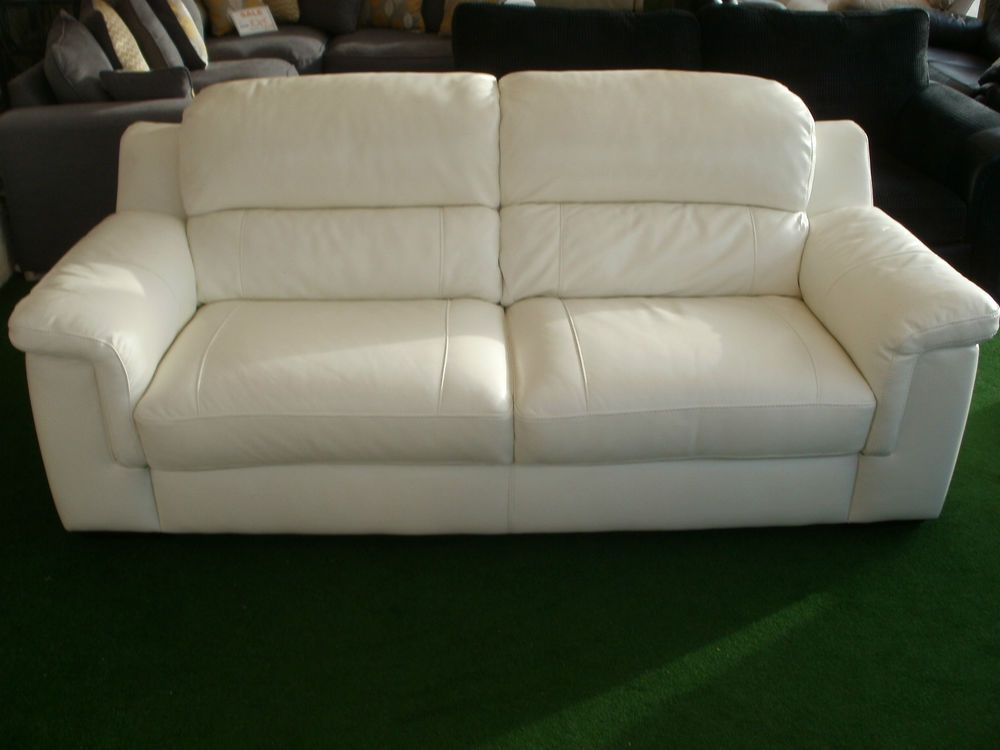 White Leather Fixet Back 3 Str Sofa 46 375