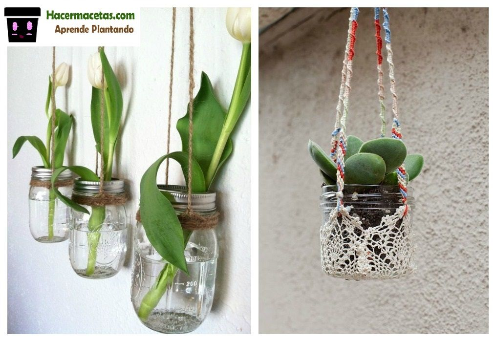 Macetas hechas con frascos de vidrio huerta colgante - Macetas colgantes interior ...