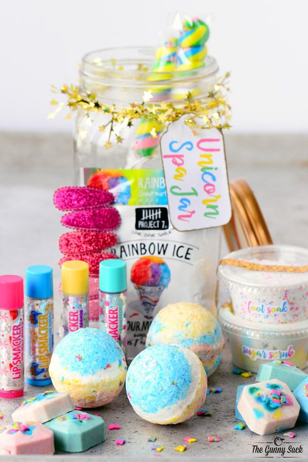 Unicorn Spa Jar Items Unicorn Birthday Parties Unicorn Birthday Diy Birthday Gifts