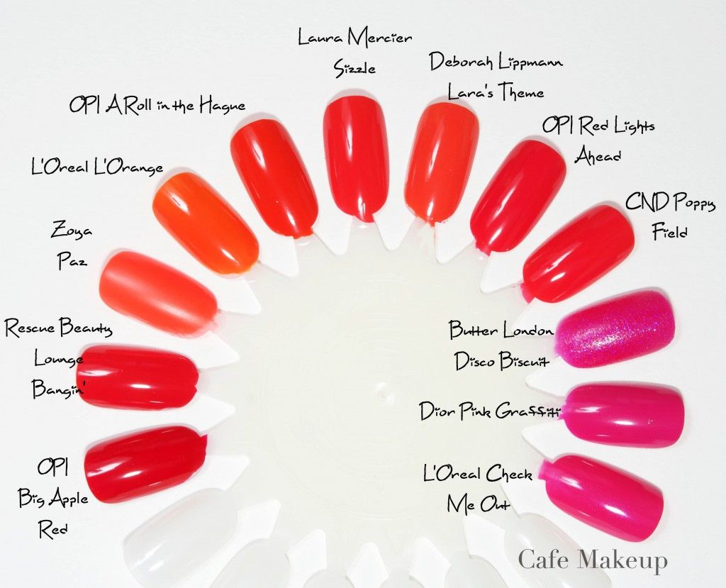 Bright Orange Pink Comparisons Opi Laura Mercier Deborah Lippmann Rescue Beauty Lounge Zoya Loreal Butter London With Images Summer Nails Red Nails Nail Polish