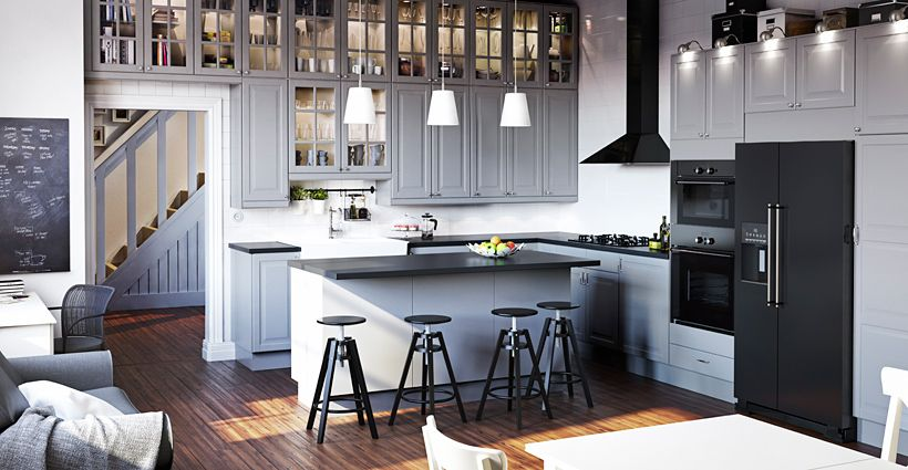 Another possibility is to do grey cabinets, white island and black - ikea küche katalog