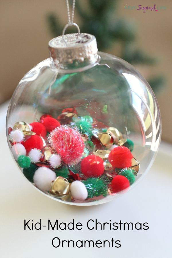 Christmas ornaments that toddlers and preschoolers can make on their own. Toddler  Christmas craft. - Fill The Ball: Kid-Made Christmas Ornaments Christmas Christmas