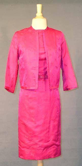 VIBRANT Fuchsia Damask 1960's Cocktail Dress w/ Matching Jacket - Vintageous, LLC