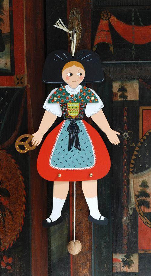 pantin en bois d coup la jeune fille alsacienne. Black Bedroom Furniture Sets. Home Design Ideas