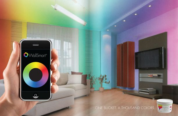 CHANGE WALL PAINT COLOR BY APP l WallSmart Interactive Paint is imbedded  with color changing nano
