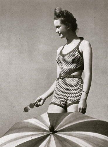 Vintage Knitting Pattern 1940s Bikini Buttoned Swimsuit Swimming