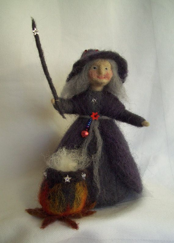 Needle Felted Halloween Witch Standing with her por ...