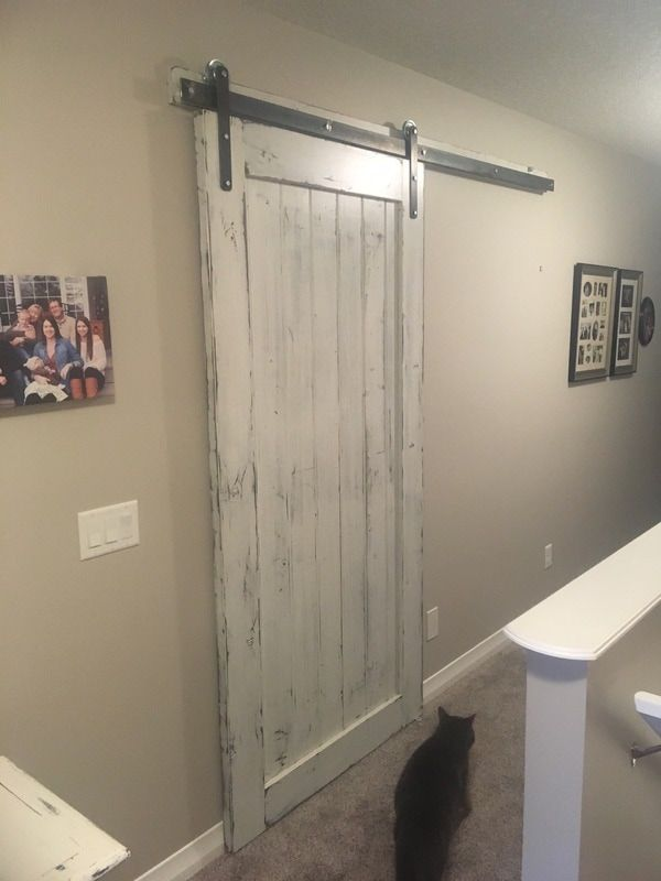 His Her Home Sliding Barn Door With A Distressed White Finish Barndoor Slidingbarndoor Distr White Barn Door Barn Doors Sliding Bathroom Ideas White Walls